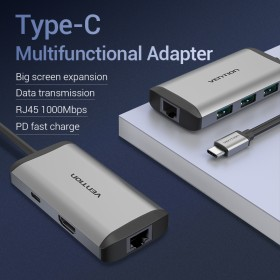 Vention type c to multi function 8 in 1 docking station