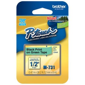 Brother M-731 Black on Green tape