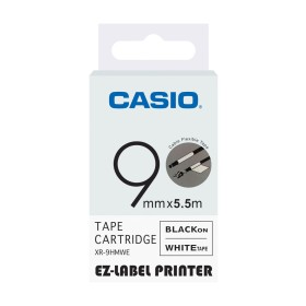 Casio 9mm black on white labelling tape XR-9WE