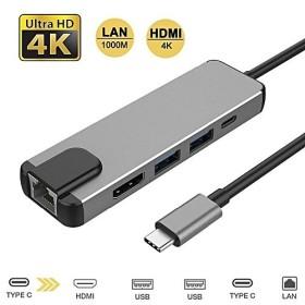 USB Type-C to 5-in-1 USB C Adapter with 4K USB C to HDMI, Ethernet Port, 2 USB 3.0 Ports